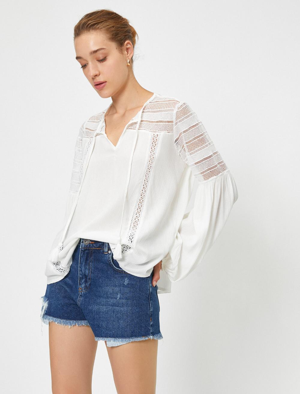 Dantel Detayli Uzun Kol Bluz In 2020 Fashion Women Ruffle Blouse