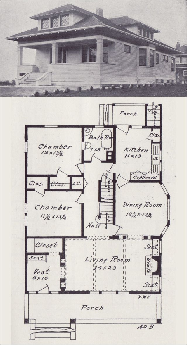 1908 Western Home Builder - No 40B Bungalows (Exteriors and Floor - fresh blueprint builders seattle