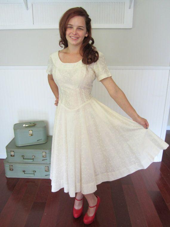Vintage 1950s dress 50s dress full skirt by ElizabethJeanVintage, $50.00