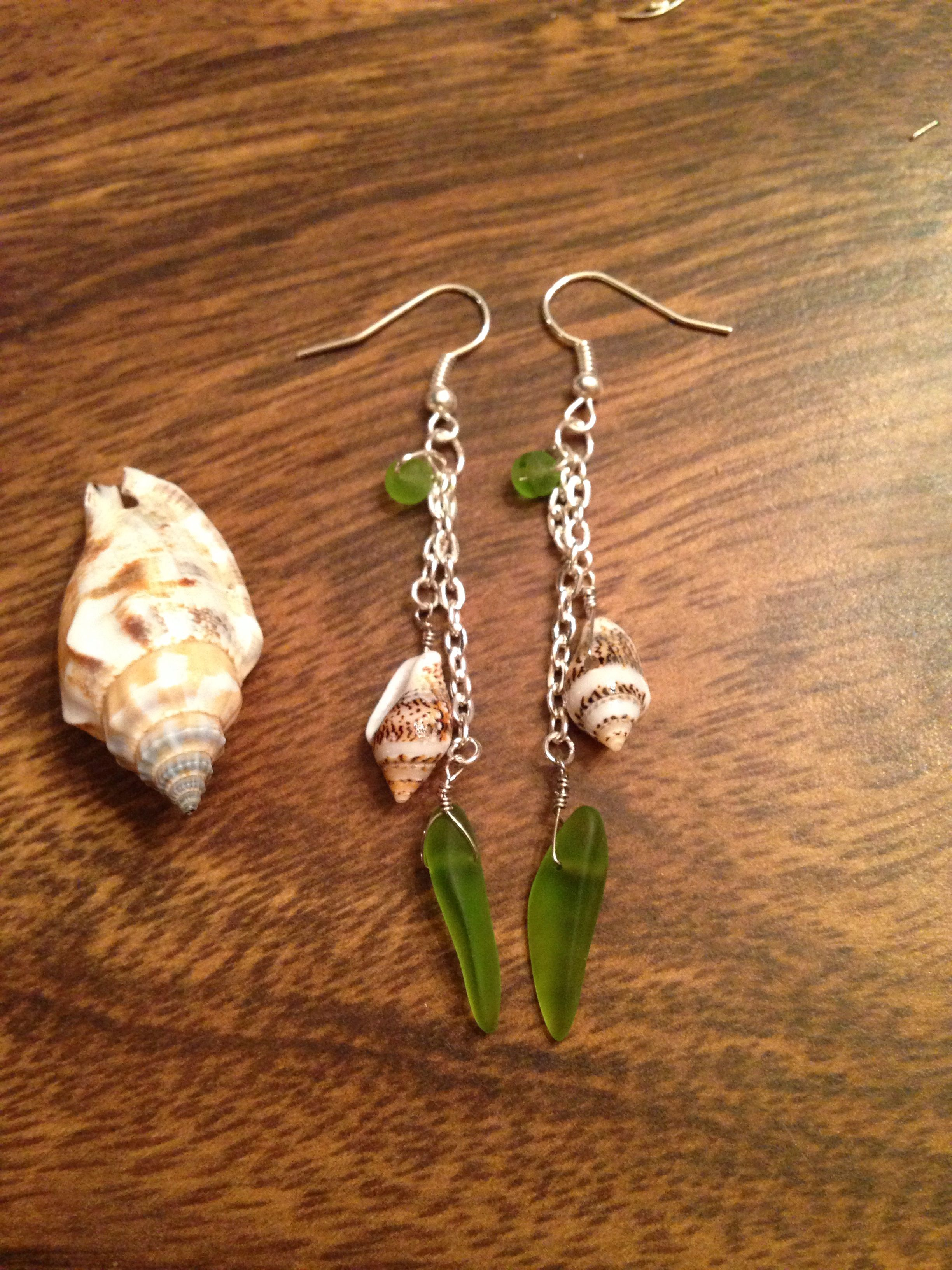 Green Sea glass and shell dangle earrings