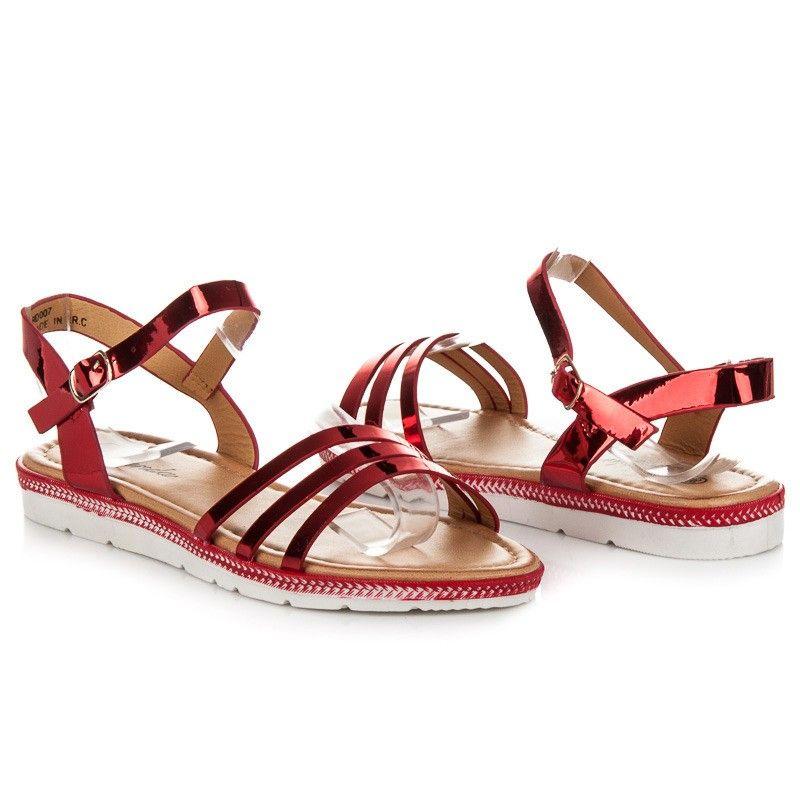 ab46d4623aeb Nízke červené sandále RD0007R