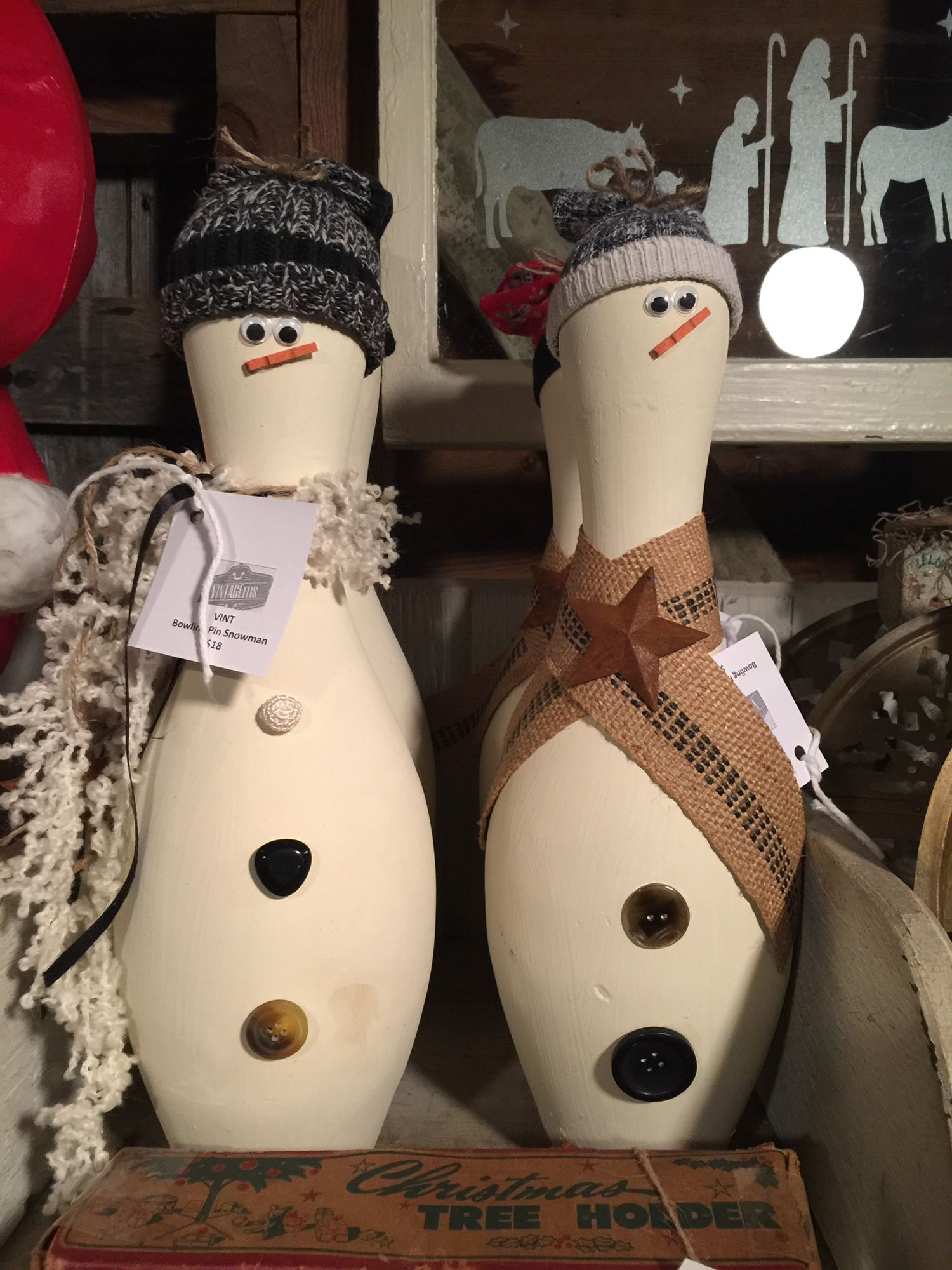 bowling pin snowman for winter decorations on porch window cool