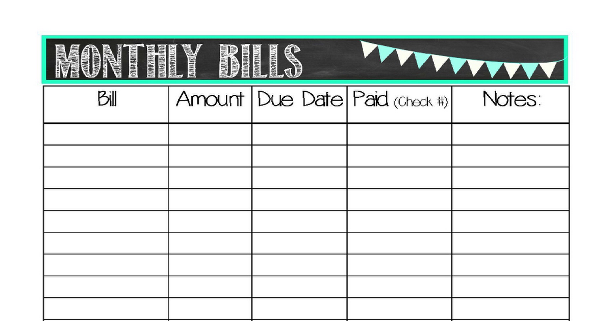 keep track of your monthly budget with this monthly bills printable