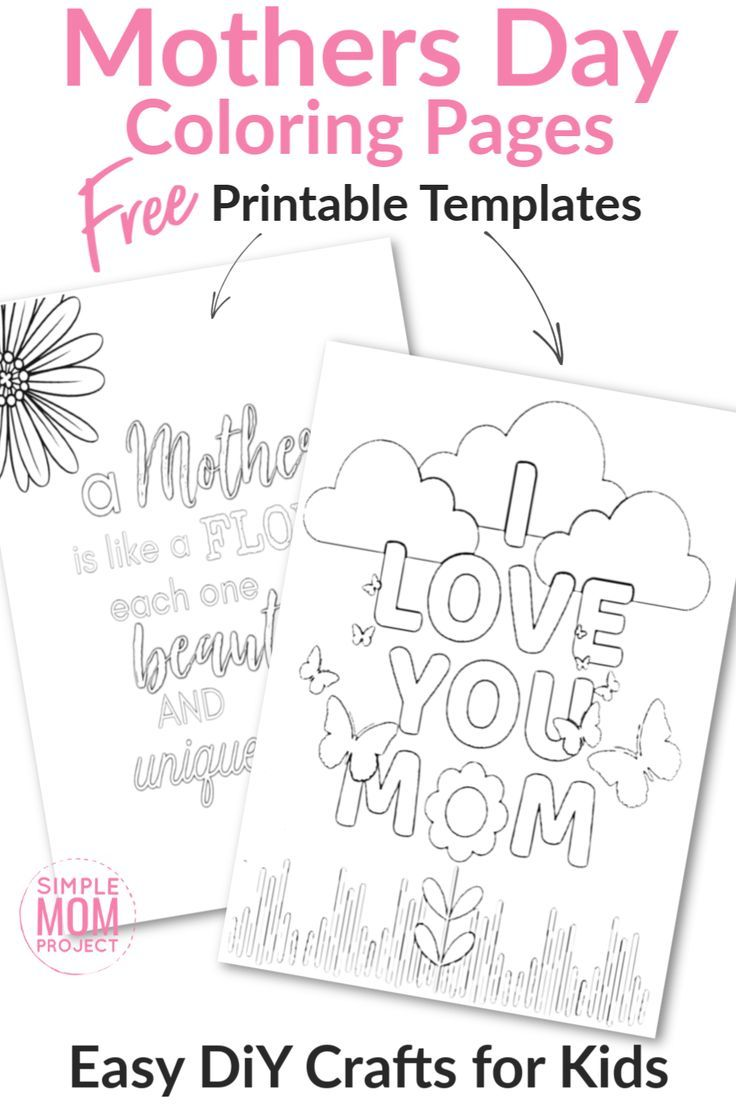 "Looking for a simple & FREE Printable Mothers Day gift for your Mom? Our special Mothers Day Coloring Pages make cute cards or Mother's Day decorations for your kids to create. With 5 printables to choose from, these FREE Mothers Day coloring pages are the perfect way for toddlers or kids of all ages to say ""Happy Mothers Day Mom!"" #MothersDay #MothersDayColoringPages #MothersDayCrafts"