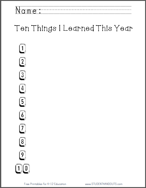 Ten Things I Learned This Year Free To Print Pdf File For