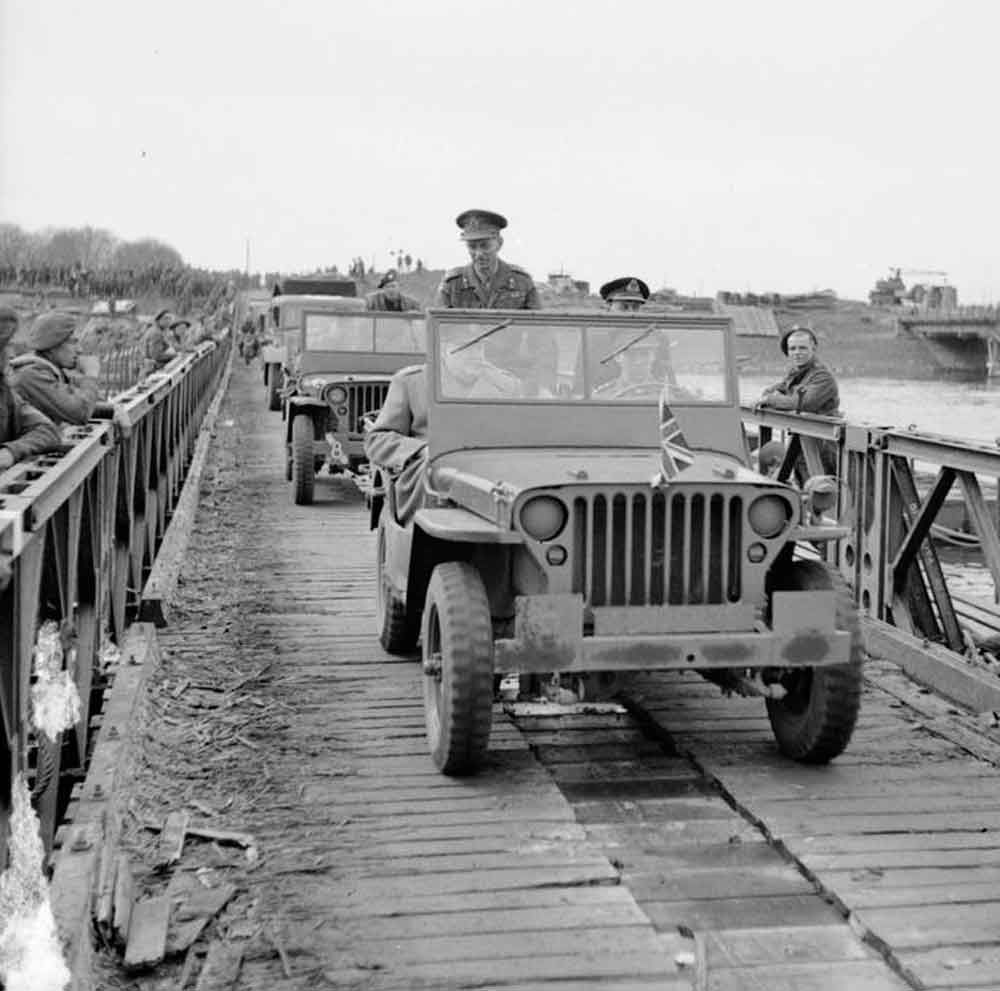 Winston Churchill crosses the Rhine in a jeep with Lt-Gen Miles Dempsey, GOC 2nd Army, 26 March 1945. MAR 26 1945 Forward Platoon makes contact as they enter Germany - See more at: http://ww2today.com/