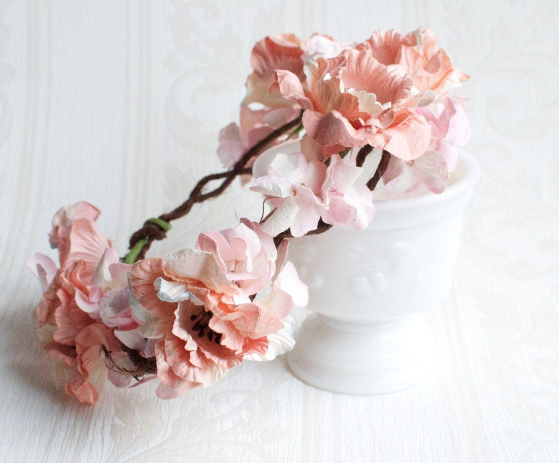 Peach flower crown pastel pink hydrangea blush peach flower peach flower crown pastel pink hydrangea blush peach flower floral crown flower izmirmasajfo