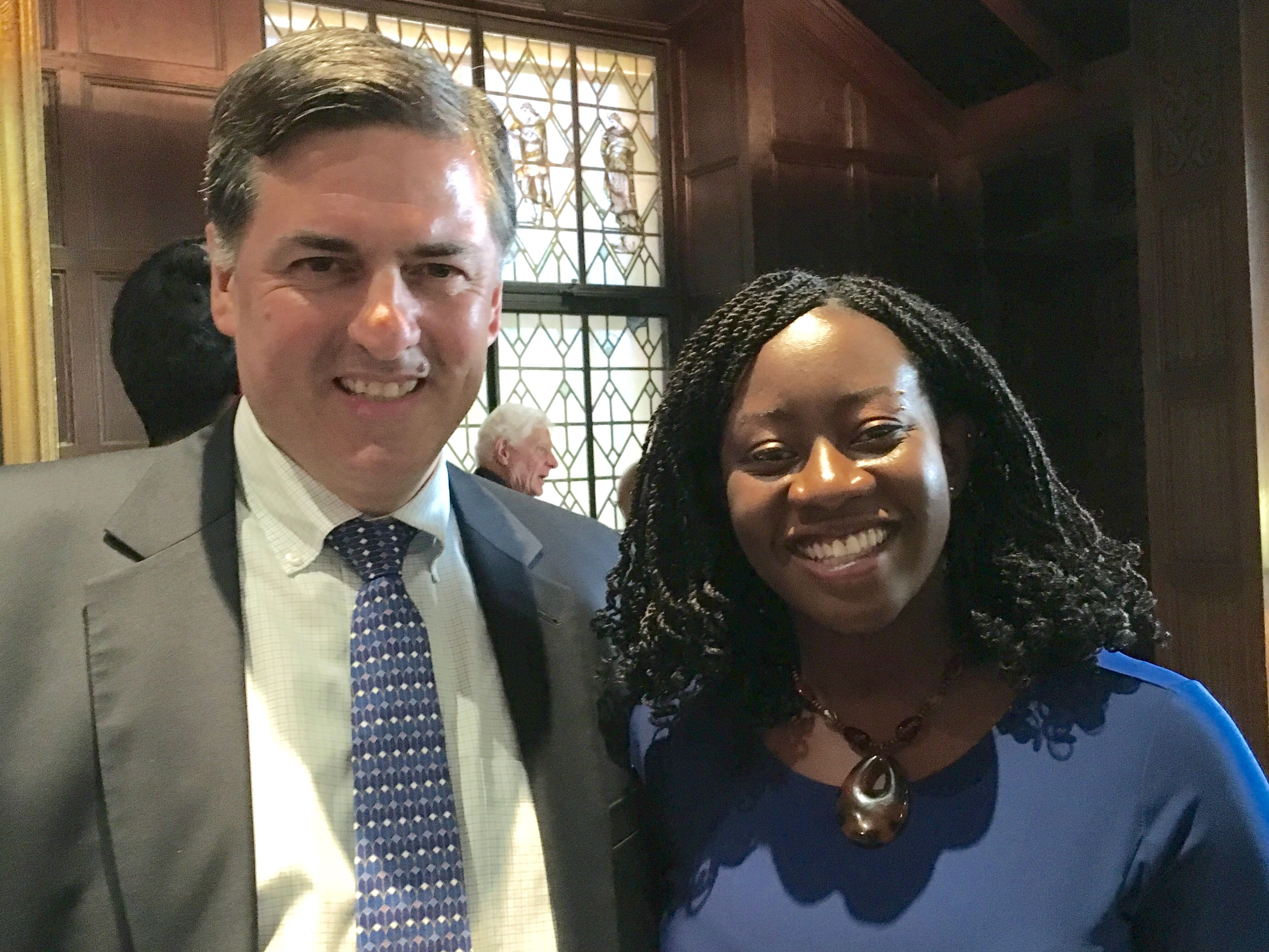 Sergio Troncoso and Julie Iromuanya (author of Mr. and Mrs. Doctor) at the Folger Shakespeare Library for the 2016 PEN/Faulkner Award for Fiction.