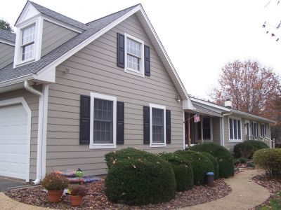 We Chose White Trim Black Shutters And Taupe Hardiplank As In This Example To Go With The Brick Stone Selections