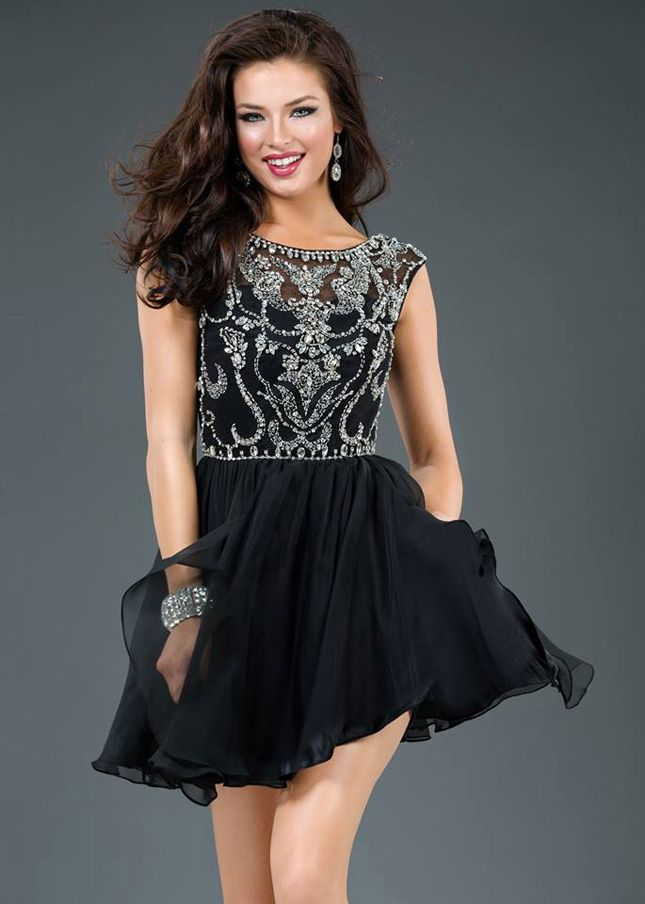 Little Black Sheer Beaded Cap Sleeve Top Short Prom Dress | Short ...