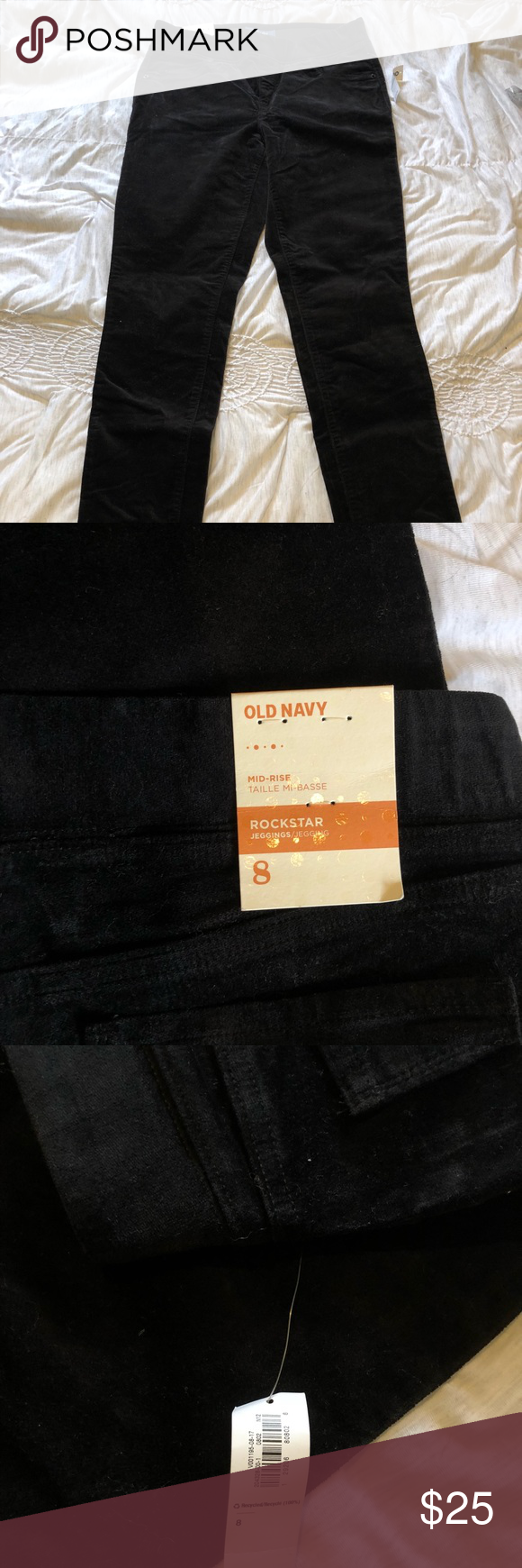 bef4a73abf168f NWT Size 8 Mid-Rise Black Velvet Jeggings New with tags mid-rise black  velvet leggings from old navy. Size 8. Old Navy Pants Skinny