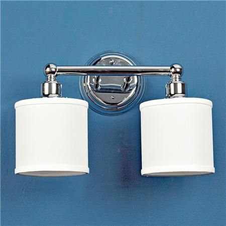 """Makeover your bath"" by replacing the glass shades on your bath light with crisp linen drum shades from www.ShadesOfLight.com"