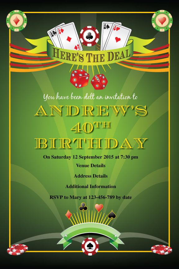 Here\'s The Deal - Poker Birthday Digital Printable Invitation ...