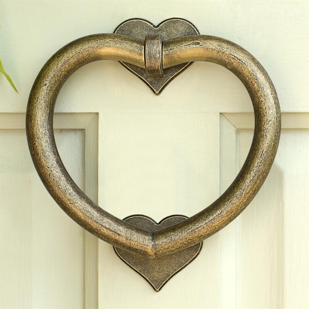 Antique brass front door knobs  Heart Door Knocker  Door Accessories  Ironmongery   Country
