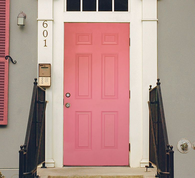 I Should Have Used Sherwin Williams Chatroom On The Exterior Next Time The Dishy Coral Is Nice Not Sure Exterior House Colors Door Color Front Door Colors