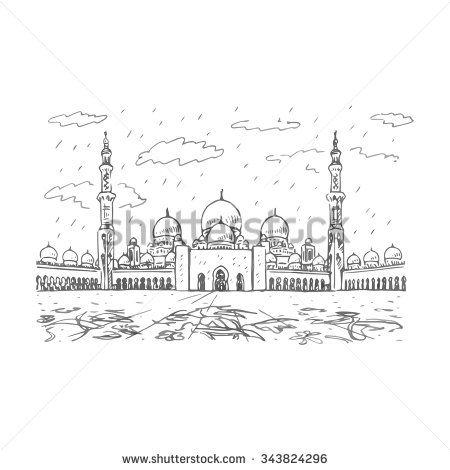 Sheikh Zayed Grand Mosque in Abu Dhabi, UAE  Vector hand