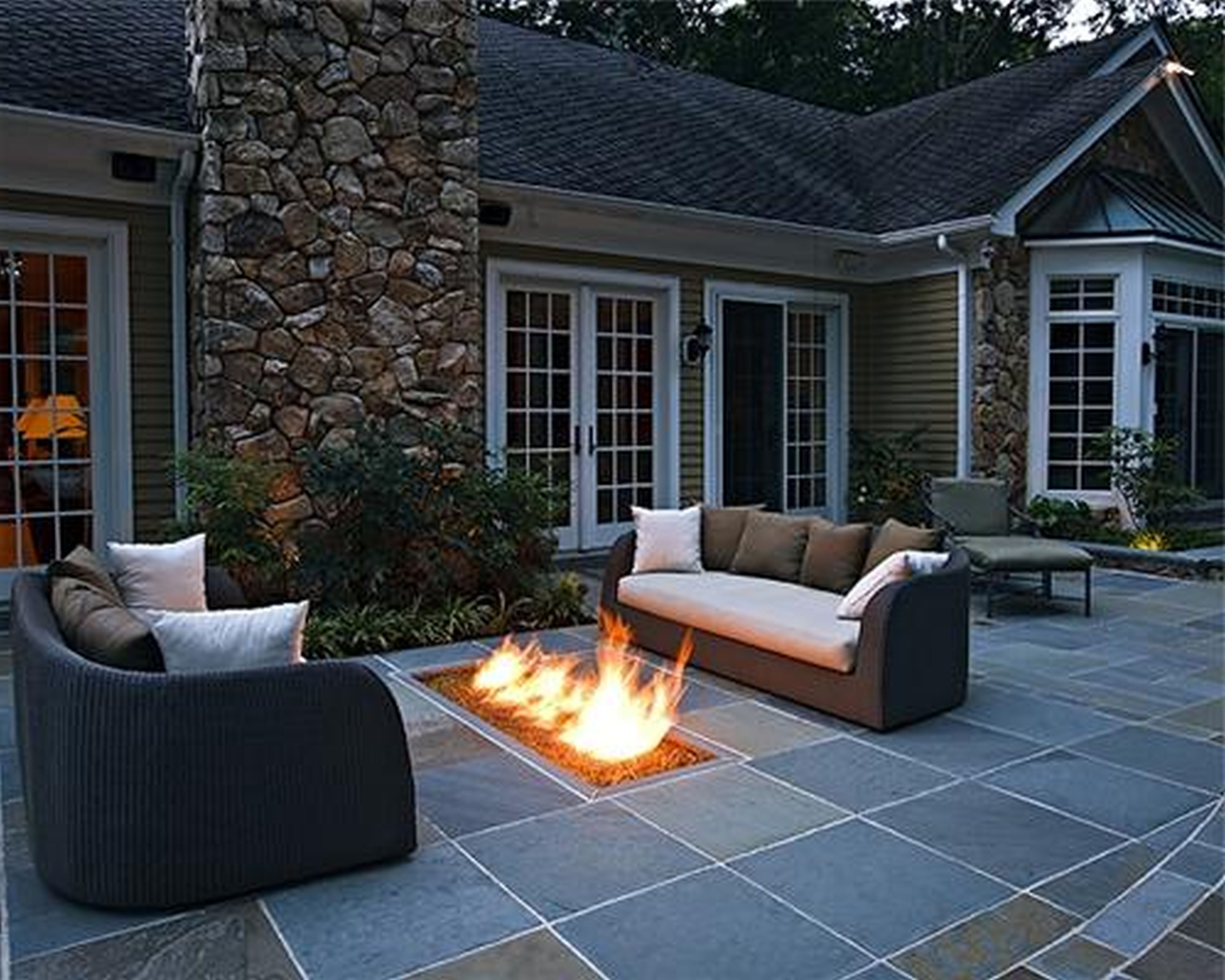 concrete patio with square fire pit. Square Tiles Concrete Floor Patio With Black Brown Sofa And White Cushions Also Rectangular Fire Pit Plus Glass Windows Wooden Frame On E