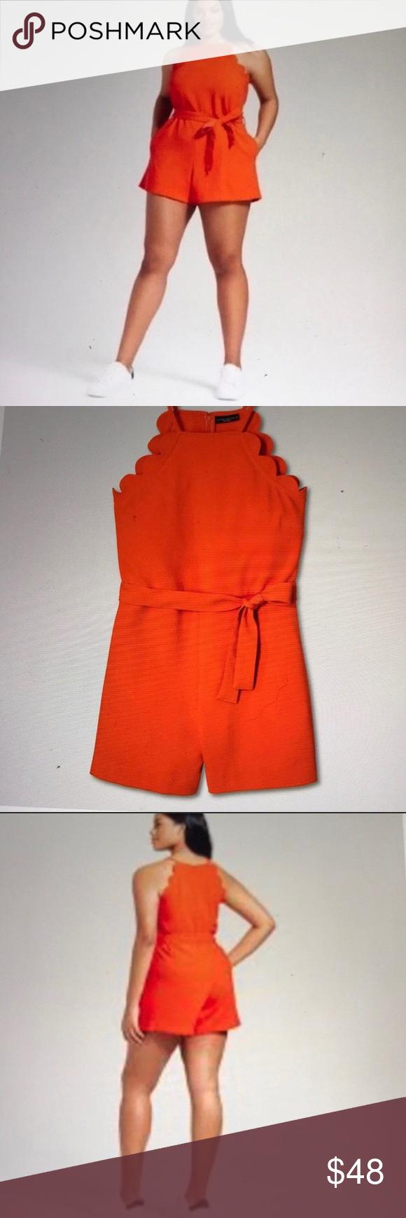 Victoria Beckham For Target Orange Scallop Romper Victoria Beckham Target Fashion Victoria Beckham [ 1740 x 580 Pixel ]
