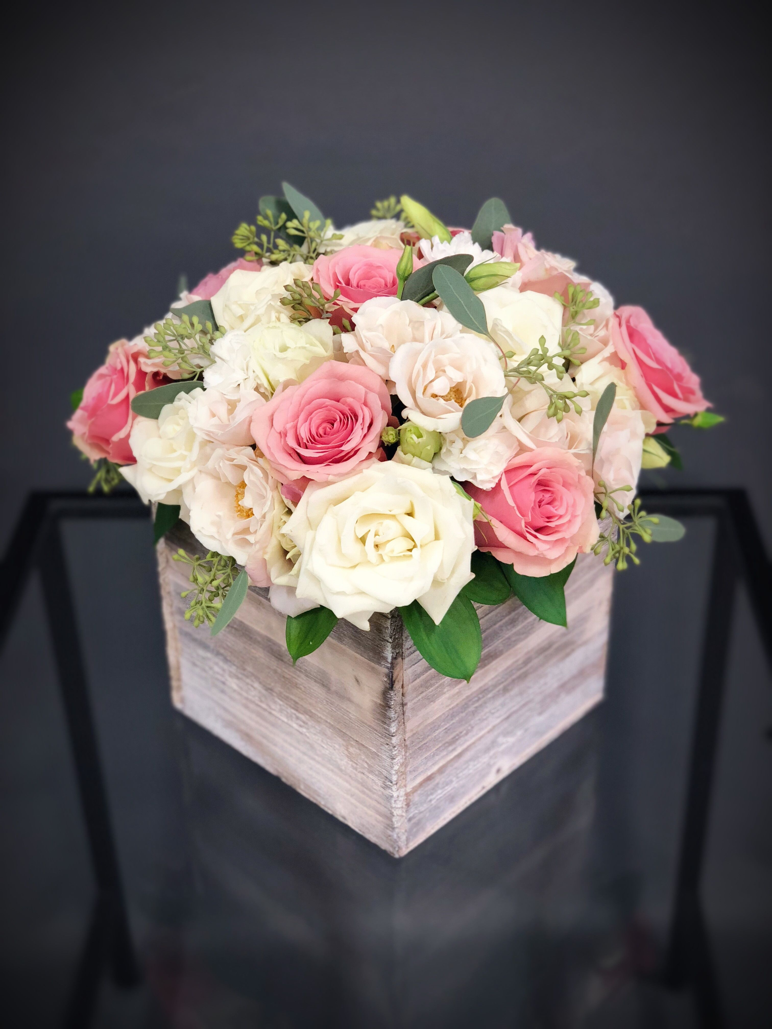 38 Wood Box Arrangement Pink White Large In