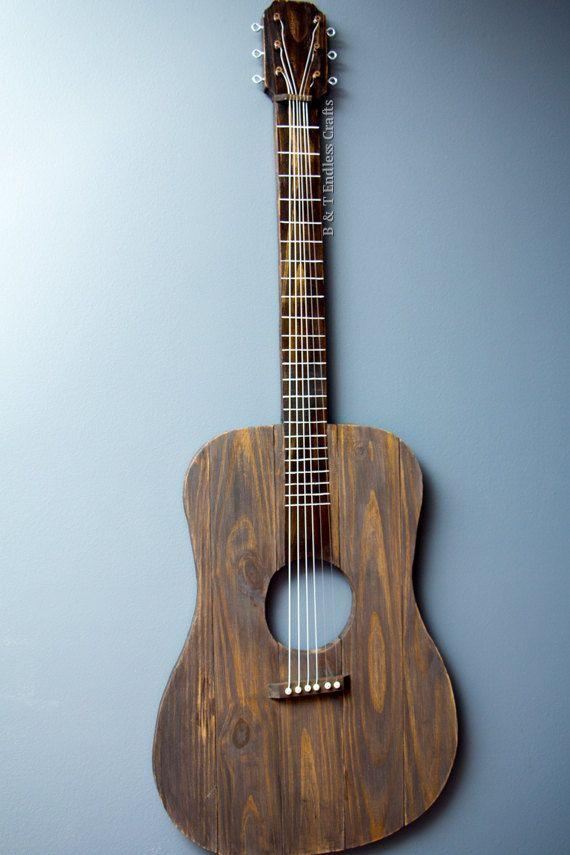 Rustic Wood Guitar Wall Art Music Art Guitar Strings Wood