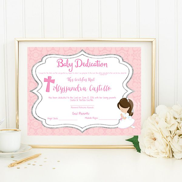 Baby Dedication Certificate  Personalized Posters  Signs