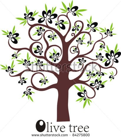 Images Clip Art Olives Olive Tree Full Of Black Olives Isolated On