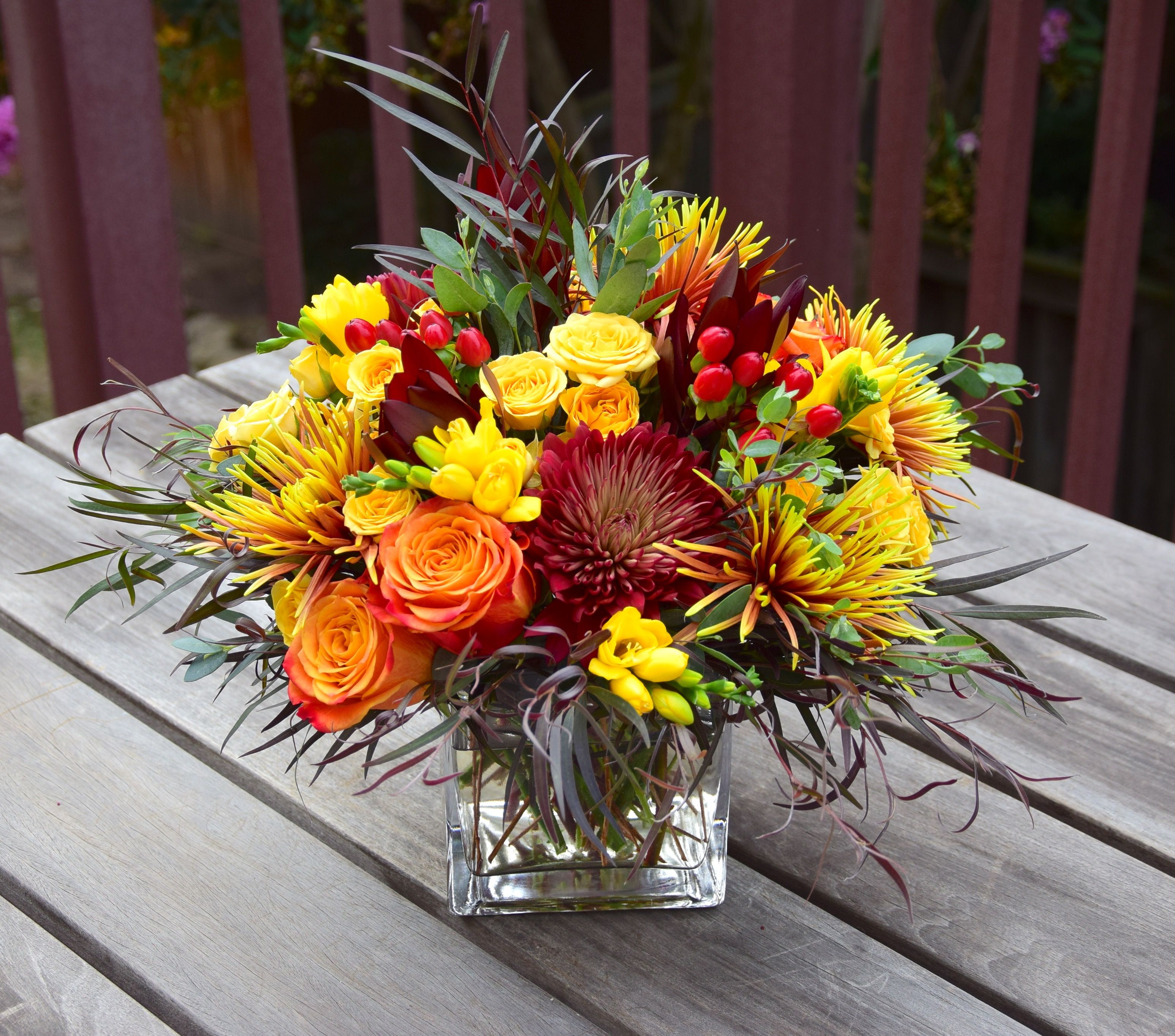 Fall Flower Arrangement With Mums Roses Spray Roses Hypericum
