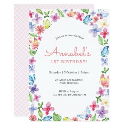 Butterfly flowers birthday invitation floral invitation and flower butterfly flowers birthday invitation filmwisefo