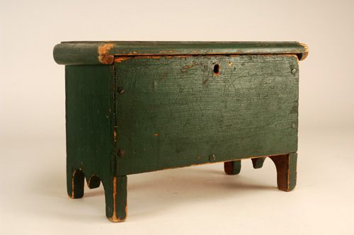 Miniature Green Blanket Chest  New England, Dated 1820 ~♥~