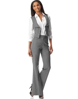 Tahari by ASL Four-Button Vest Pant Suit - Pant Suits Suits & Suit ...