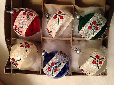 6 ANTIQUE VINTAGE HAND-BLOWN FEATHER TREE GLASS ROUND XMAS ORNAMENTS GLITTER