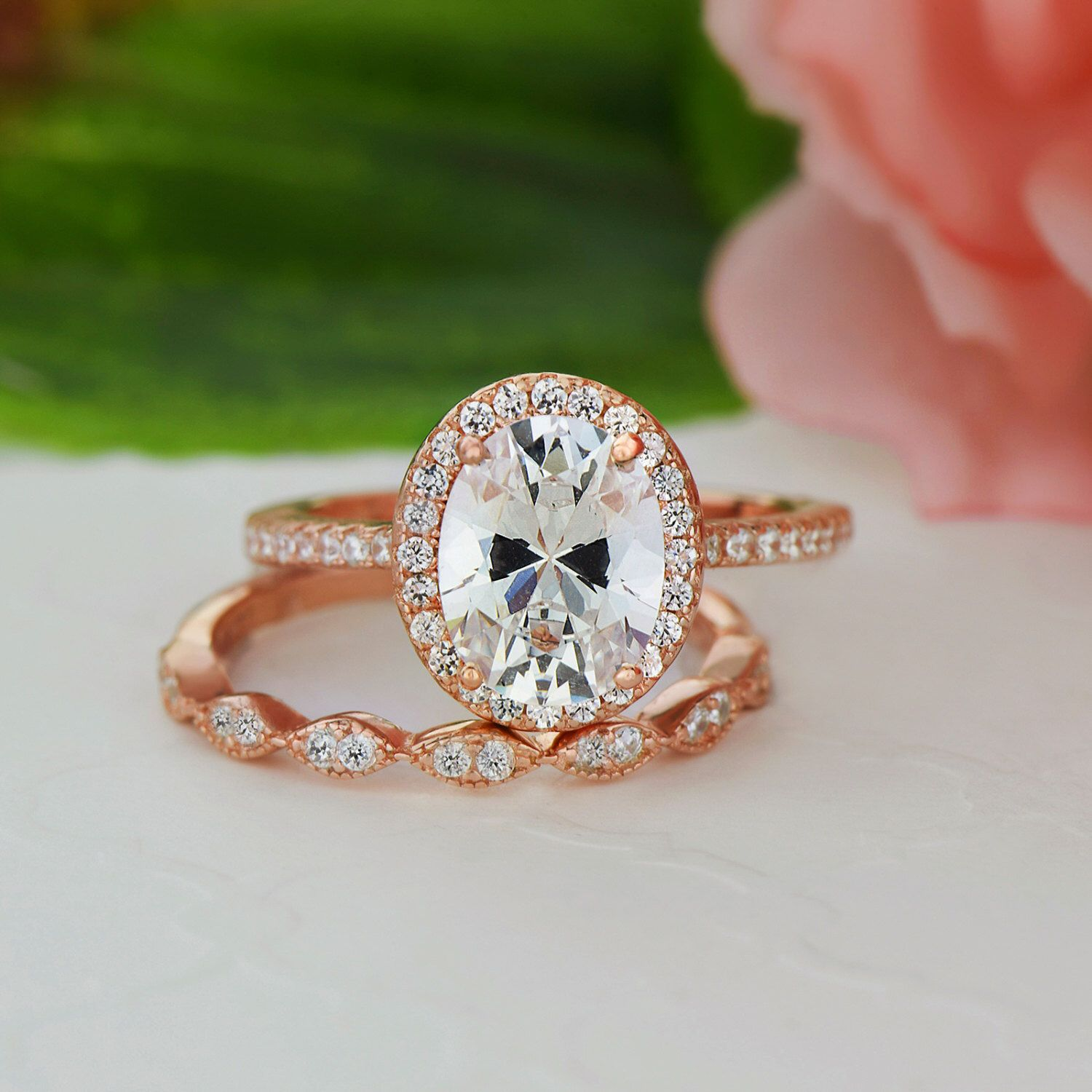2 25 ctw Oval Bridal Set Vintage Style Engagement Ring Man Made