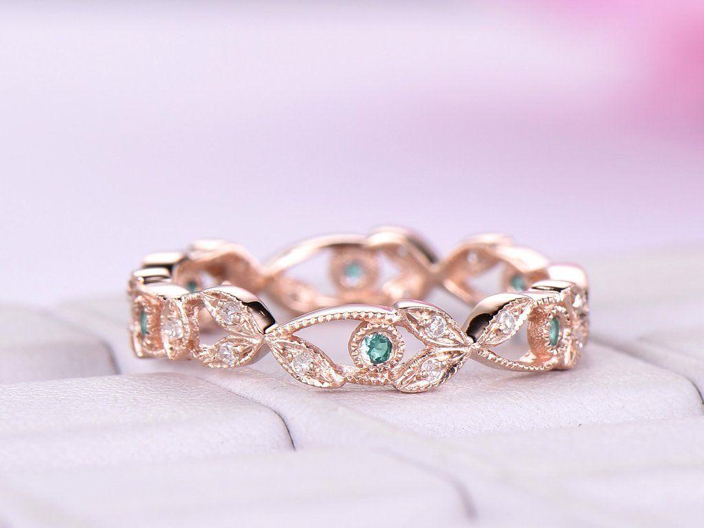 Alexandrite diamond wedding band eternity vine ring 14k
