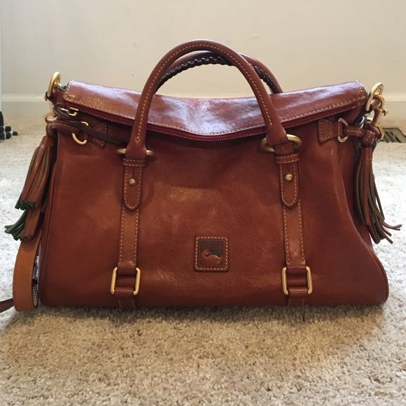 Dooney & Bourke Florentine Medium Satchel IN STORES NOW! Florentine Medium Satchel, beautiful cognac leather, worn a few times, minor marks and creasing to leather, excellent interior, includes original dust bag Dooney & Bourke Bags Satchels