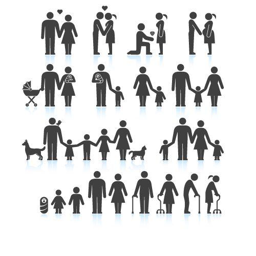 Iconos De Personas En Vectores 3 Disenos De Unas Pictograma Foto Familiar