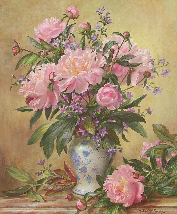 Vase Of Peonies And Canterbury Bells By Albert Williams In 2020 Floral Painting Flower Art Flower Painting