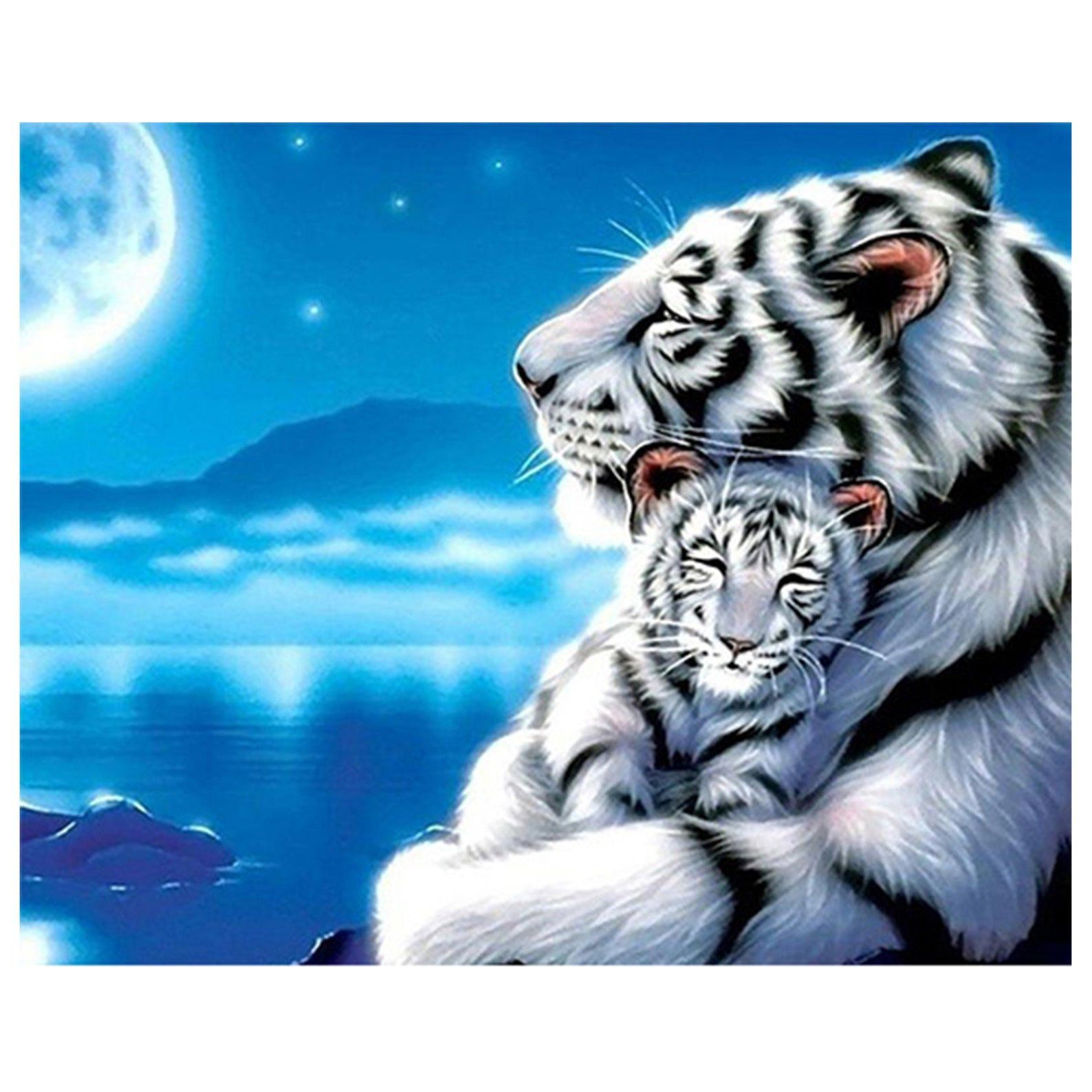 Tigers Mom&Son Full Square/Round Diamond 5D DIY Diamond Painting Animal Embroidery Mosaic Wall Decoration Rhinestone Picture Christmas Gifts