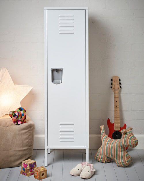 Kids Tall White Retro Locker Bedroom Storage