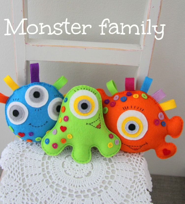 Plushka's craft: Felt monster toy DIY, make the whole family of colourful monsters!