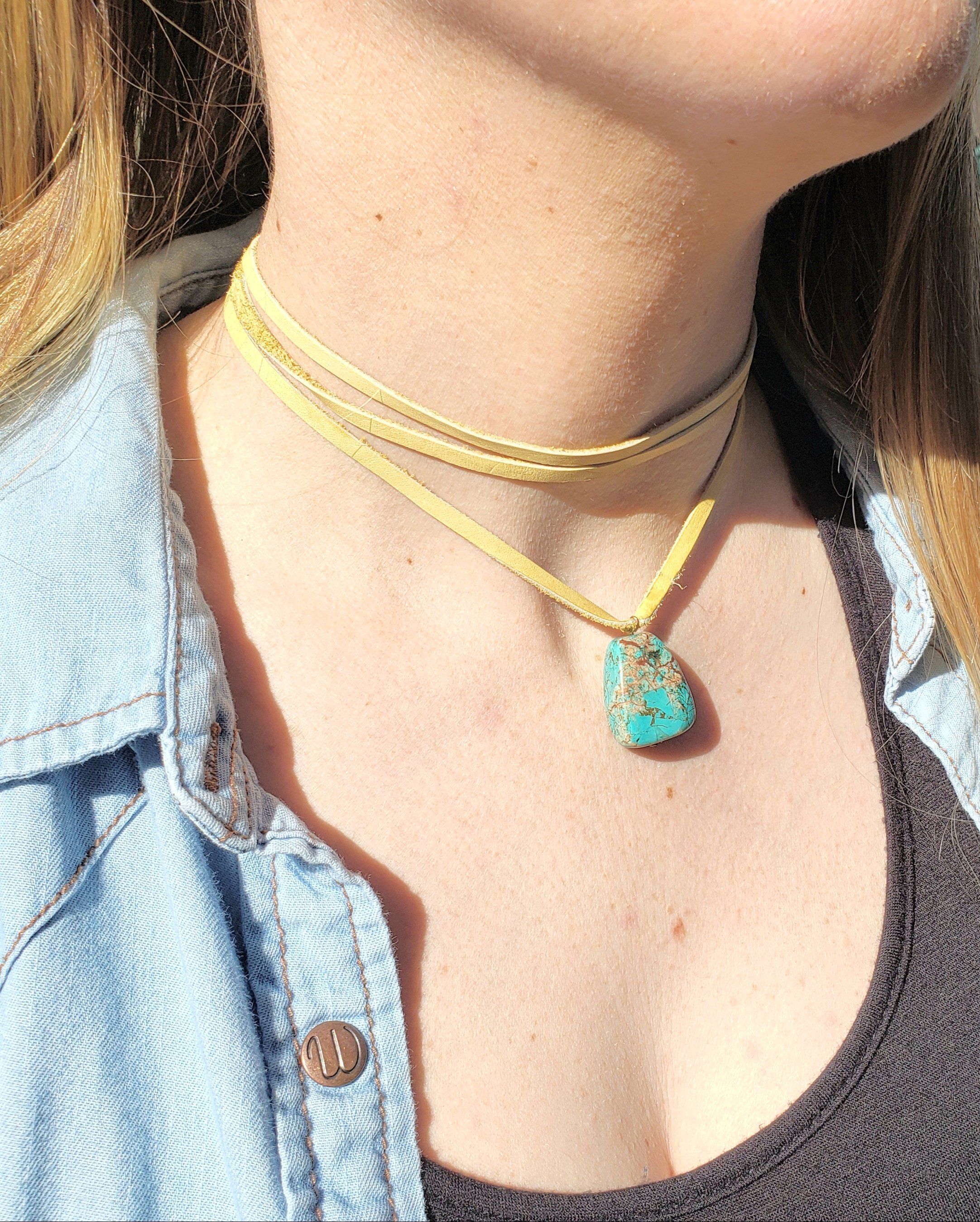 3 Strand Deer Skin Lace Choker With Turquoise Pendant