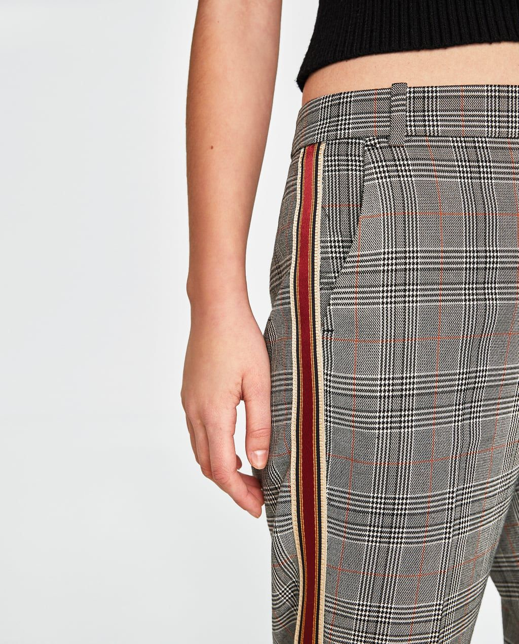 86a0544c213ea9 Image 6 of CHECK PANTS WITH SIDE STRIPES from Zara | Fashion in 2019 ...