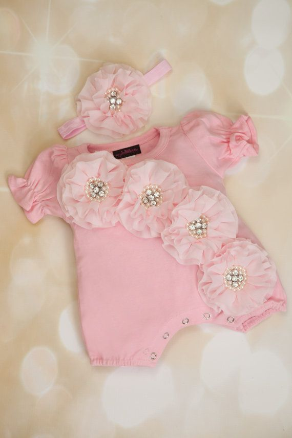 Pink Baby Girl Romper Set Infant One Piece Set Bubble Romper with ...