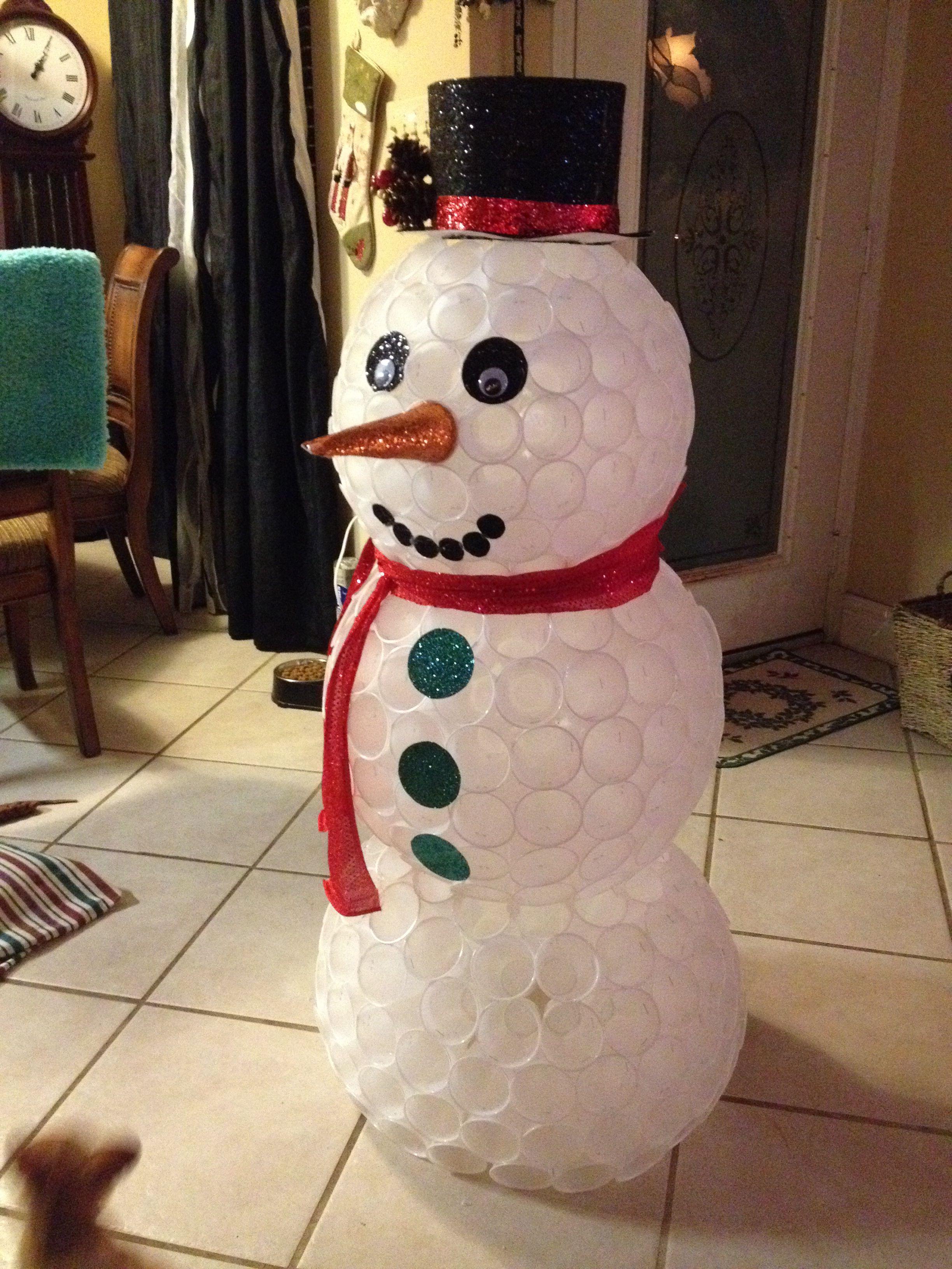 Plastic Cup Snowman Christmas Decor Diy Christmas Crafts Diy