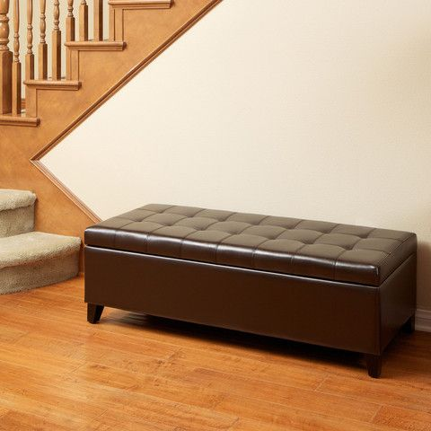 Santa Rosa Brown Tufted Leather Storage Ottoman Bench