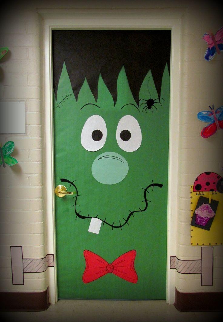 Frankenstein door navidad pinterest puertas for Puertas decoradas navidad material reciclable
