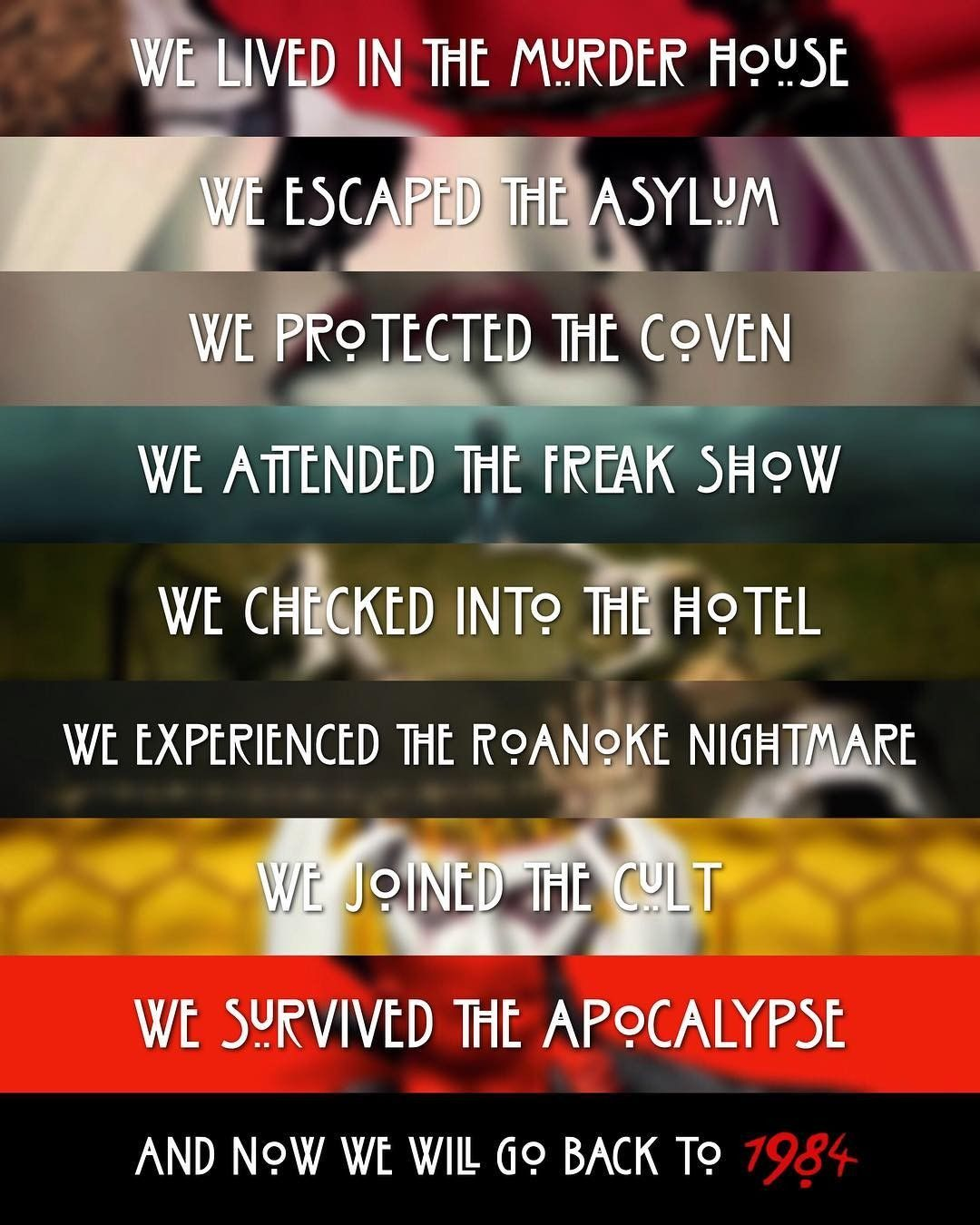 American Horror Story seasons. And now we will go back to 1984.