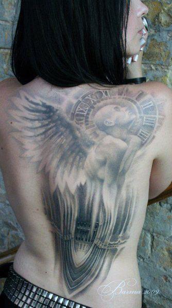 Tatuaże Damskie Anioł I Zegar Tattoos Tattoos Back