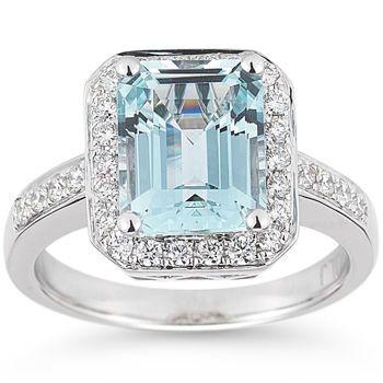 costco emerald cut aquamarine and diamond ring 14kt white gold - Costco Wedding Rings