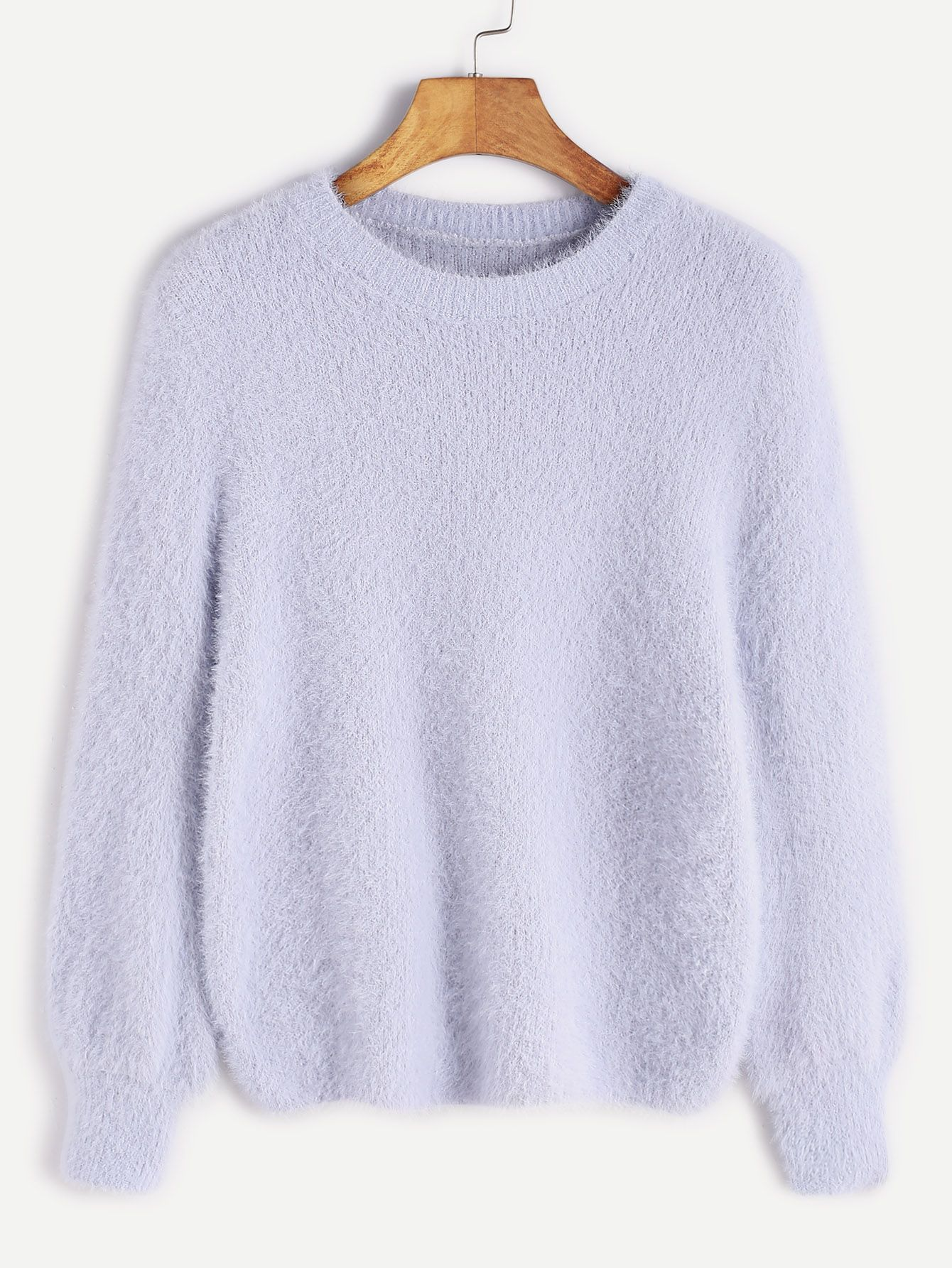 Pale Blue Long Sleeve Fuzzy Sweater — 0.00 € --------------------color: Blue size: one-size