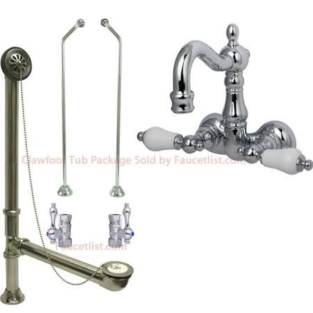 367 Wall Mount Clawfoot Tub Faucet Drain And Supply Line Set